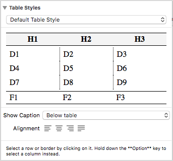 Defining a Table Style