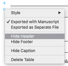 Toggling table elements