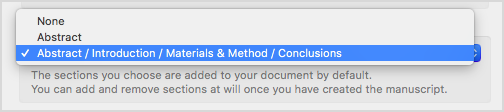 Choose default sections for your document