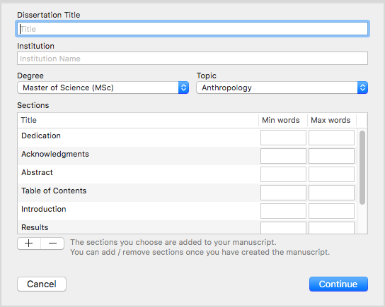Creating a dissertation template